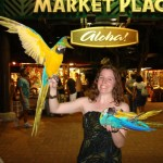 Laura with parrots