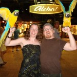Laura & David with parrots